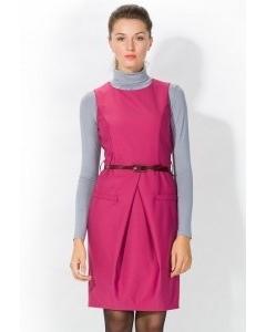Малиновое платье-футляр