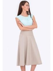 Бежевая расклешенная юбка на кокетке 527/sierra