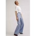 Женские широкие синие брюки в полоску Emka D145/abeliya