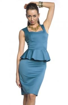 Платье с баской лазурного цвета   DSP-84-37