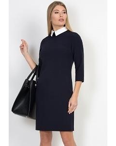 Тёмно-синее платье с белым воротничком Emka Fashion PL-409/juna