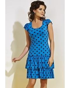 Синее платье в черный горох TopDesig A4 051