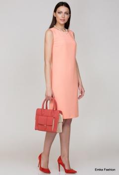 Летнее платье персикового цвета Emka Fashion PL-423/gisele