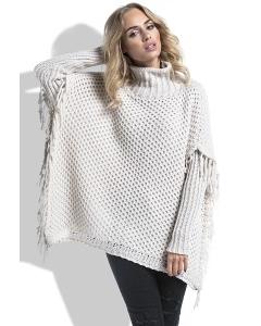 Теплый бежевый свитер с бахромой Fimfi I222