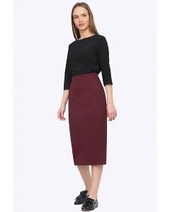 Бордовая юбка с высокой талией Emka S501/refi