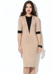Платье-футляр бежевого цвета Donna Saggia DSP-198-24t