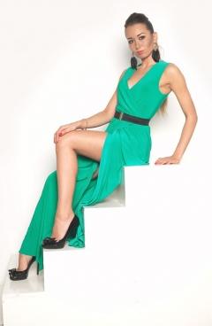 Длинное платье нефритового цвета   DSP-90-50t