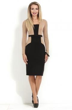 Бежево-черное платье Donna Saggia DSP-170-24t