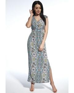 Длинное платье из ткани с красивым принтом Enny 250212