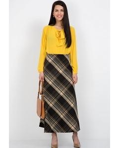 Длинная юбка в косую клетку Emka Fashion 314-vita
