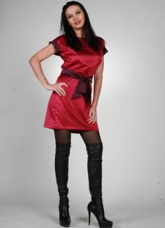 Короткое атласное платье   0052