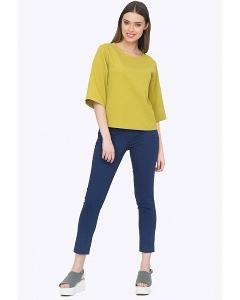 Женские брюки-дудочки синего цвета Emka D035/kariba