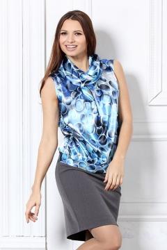 Атласная блузка без рукавов