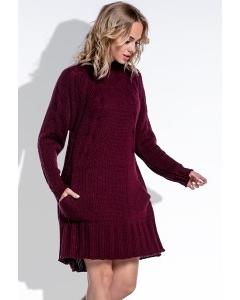 Тёплое вязаное платье бордового цвета Fimfi I194