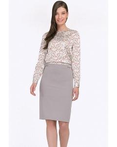 Светло-серая юбка в деловом стиле Emka S687/gabriella