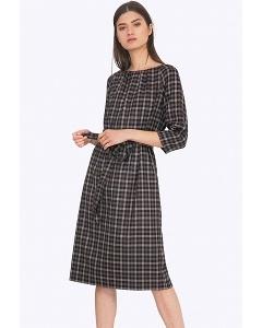 Клетчатое платье с поясом Emka PL689/marleen