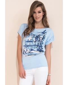 Синяя летняя блузка свободного кроя Zaps Safona