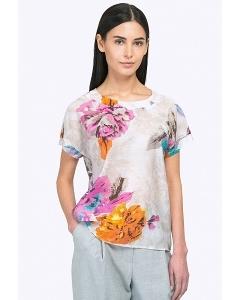 Лёгкая летняя блузка с цветами Emka B2245/ironiya