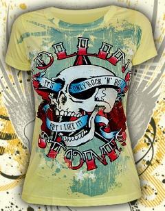 """Желтая женская футболка """"Rock N Roll"""""""