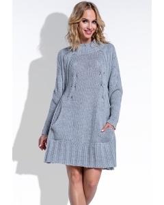 Тёплое вязаное платье серого цвета Fimfi I194