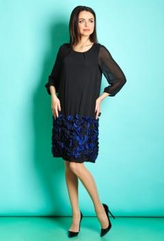 Чёрное платье с синим низом TopDesign Premium PB5 01