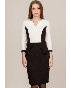 Черно-белое платье с баской Remix 1826