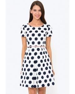 Белое платье в темно-синий горох Emka PL-498/brigitta