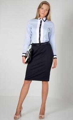 Голубая рубашка с черной полоской | Б857-1719-724