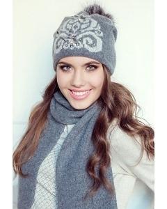 Комплект (шапка и шарф) серого цвета Landre Сабина