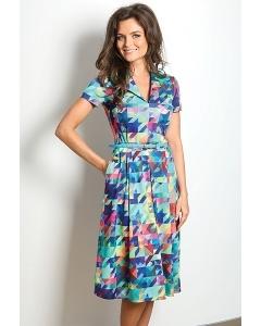 Цветное летнее платье с рубашечным воротом TopDesign A7 045