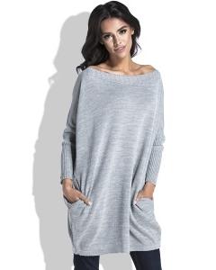 Удлиненный свитер с карманами серого цвета Fobya F444