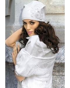 Белая трикотажная шапка цвета Kamea Sara
