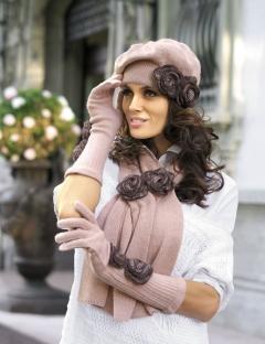Комплект (берет+шарф) розового цвета Kamea Larissa