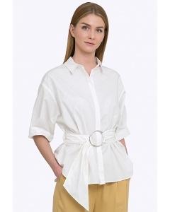 Белая хлопковая блузка с поясом Emka B2301/ronda