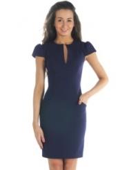 Темно-синее платье из костюмной ткани