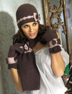Комплект (шапка+шарф) коричневого цвета Fiorenza