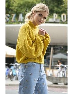 Укороченный свитер жёлтого цвета Fobya F550