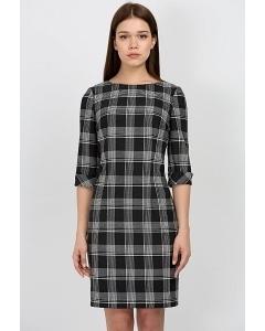 Чёрно-белое клетчатое платье Emka Fashion PL-450/pina