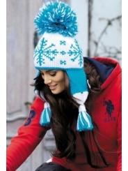 Шапка-ушанка голубого цвета Kamea Lena