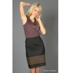Двухцветная юбка-карандаш