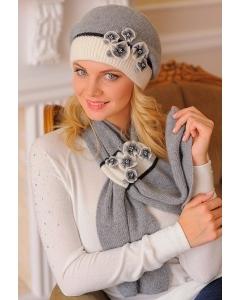 Комплект (берет + шарф) бежевого цвета Landre Андреа
