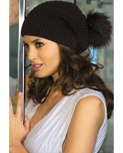 Черная шапка с помпоном Kamea Cornelia