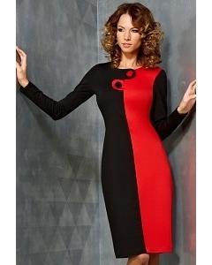 Молодежное черно-красное платье TopDesign B3 109