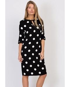 Чёрное платье в белый горох Emka Fashion PL-480/refi