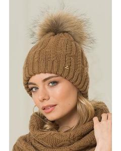 Женская бежевая шапка с большим помпоном Landre Роберта