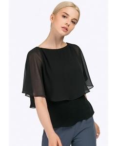 Чёрная женская блузка с пелериной Emka B2317/brina