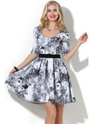 Летнее чёрно-белое платье Donna Saggia DSP-189-94t