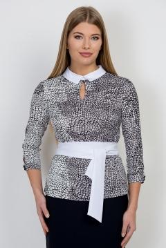 Чёрно-белая блузка Emka Fashion b 2115/garnet