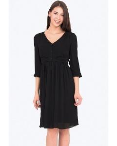 Чёрное летнее платье с V-образным вырезом Emka PL-614/brina