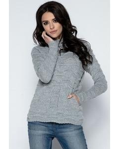 Женский серый свитер Fobya F486